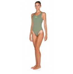 Women's Solid Swim Tech High (Army-SHINY Green) 2a241656