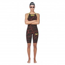 Women's Powerskin Carbon-Air Full Body Short Leg Open Back Ltd. Edition 2017(black/bright red)