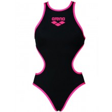 Women's Arena One Biglogo One Piece Swimsuit (Black-Fluo Red) 001198504