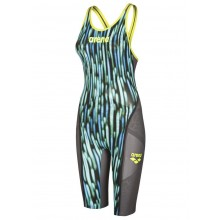 Arena Powerskin Carbon-Ultra Limited Edition Openback Kneeskin (blue drops/fluo yellow) 001660-765