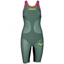 WOMEN'S POWERSKIN CARBON-AIR FULL BODY SHORT LEG OPEN BACK(dark green -fluo red)