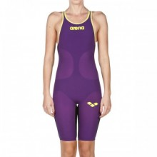 WOMEN'S POWERSKIN CARBON-AIR FULL BODY SHORT LEG OPEN BACK(plum-fluo yellow)