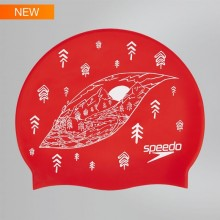 Slogan Print Swim Cap (Lava Red/White) 8-08385C352