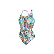 Speedo Flipturns Glow Ball Double Crossback Swimsuit (pink-green)