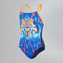 Placement Digital Crossback Swimsuit (Navy/Orange)