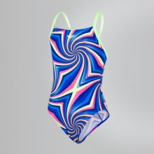 Allover Digital Thinstrap Crossback Swimsuit (Blue/Blue/Yellow) 8-10839C768