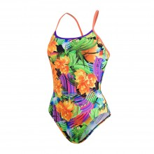 Speedo Flipturns Funk Burst Single Crossback Swimsuit (Orange/Violet/Green)