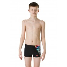 Speedo Boy's NeonSamurai Digital Aquashort- Black / Bright Zest