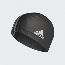 ADIDAS COATED FABRIC SWIM CAP ( Black/Silver Metallic)