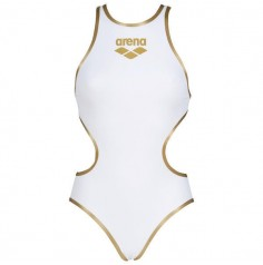 Women's Arena One Biglogo One Piece Swimsuit (White-Gold) 001198103